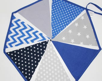 Flag Garland in shades of blue and grey fabric