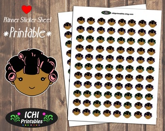 Hair Rollers Printable Planner Stickers, Curler Stickers, Hair Salon, Kawaii Black Girl Stickers, African American, Hair Day, Functional