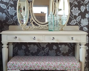 Shabby Chic Dressing Table, Mirror & Stool