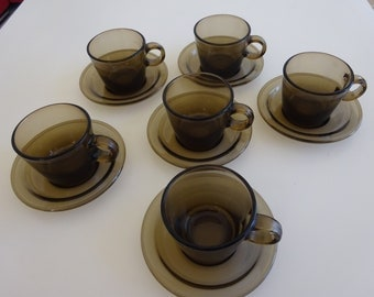 French Vereco espresso cups and saucers vintage brown glass set of 6