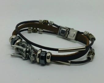 Mens brown leather and stainless steel dragon bracelet.