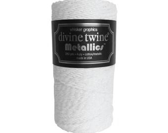 NEW * white and Icicle metallic Divine Twine - 10 meters - white Iridescent