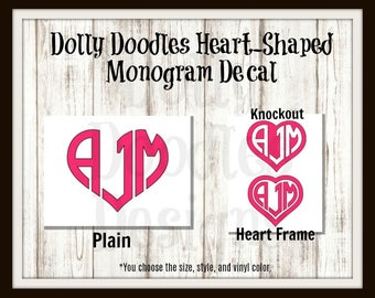 Heart-Shaped Monogram Decal - Vinyl Monogram Decal - Heart Decal - Initials - Personalized - Customized