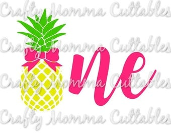 Pineapple ONE SVG file // First Birthday Svg // 1st birthday Cut File // Pineapple bow birthday Silhouette File // Cutting File // SVG file