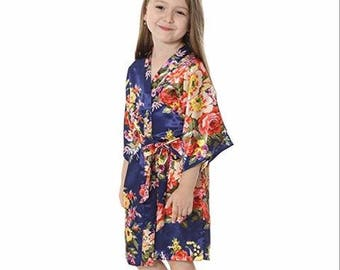 1-Floral Flower Girl Robe-Robes for Flower Girl-Age 5 to Age 12