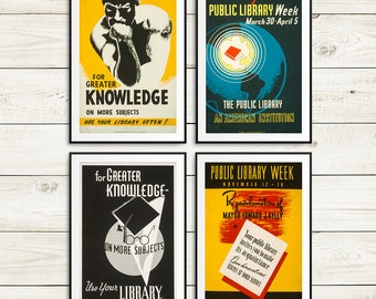 Librarian gifts, library decor, library posters, gifts for librarians, gifts for readers, book lover gifts, vintage library poster set, book