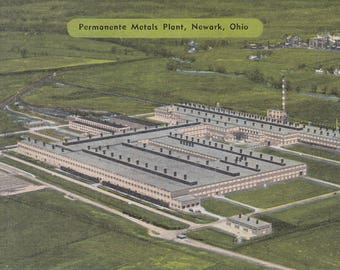 Newark, Ohio Vintage Postcard - Permanente Metals Plant, Kaiser Aluminum, Ohio Metals Plant