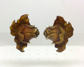 STEPHEN DWECK oversized sterling silver rose carved earrings #307