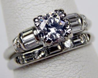 platinum 1.40 Ctw diamond engagement ring band set  #10663