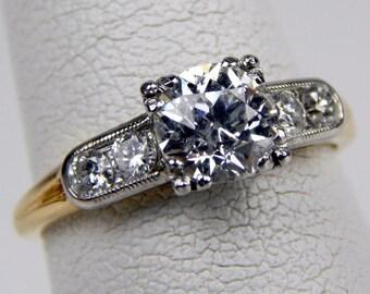Art Deco 14k 1.25 Ctw old european cut  diamond solitaire ring #10427