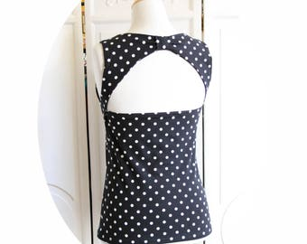 Amelia black top has white polka dots Sleeveless Top backless Cotton Jersey, black top has white polka dots, black backless top bow has white dots