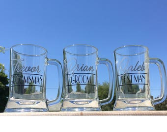 Groomsmen Beer Mugs, Best Man, Groom, Wedding Mugs, wedding party gifts, bachelor favor, personalized Beer Steins