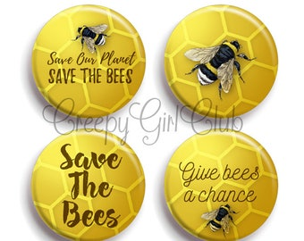Save The Bees Pin Set: Save Our Planet Save The Bees, Give Bees A Chance | bumble bee, honey bee, endangered, colony collapse, environmental