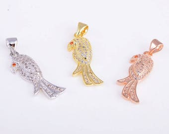 Parrot charm/pendant, Gold/rose gold/silver parrot charm/pendant, CZ rhinestone parrot necklace, 23MM*9MM