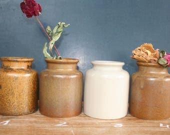 Old clay pot fired. Mustard jar. Antique pot.  Ceramic pot.  Rustic pot. Workshop. Vase.   French vintage.