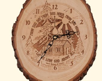 "Rustic St. Herman Clock ( ~ 5 "" wide )"