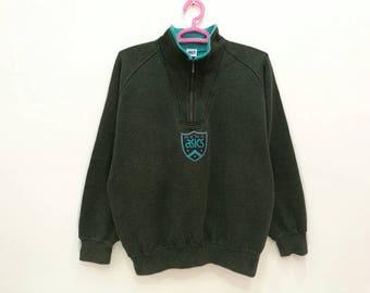 Rare!! Vintage Asics Spellout Half Zipper Pullover Jumper Sweatshirt