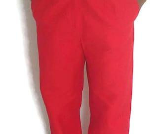 Breezy Lynn Wide Leg Pants - Breezy Lynn Handmade - Red Wide Leg Pants - Front Zipper - Side Pockets - Flower Print - Women's Dress Pants