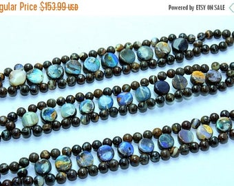 Brilliant !!!~100% Natural  Boulder Opal silver Bracelet Smooth Beads 4x7mm Approx 8''Inch Good Quality.{Bo-05}
