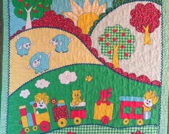 Baby Blanket 80's Quilted Gingham Baby Blanket Crib Blanket Kid's Blanket