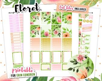 Planner Stickers Printable, Floral Planner Sticker, Printable Planner Sticker, Erin Condren Vertical Planner, Flower Stickers