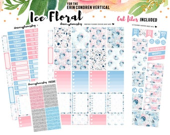Planner Sticker Printable, Floral Planner Sticker for Erin Condren Vertical, January Printable Flower Weekly Kit, Winter Planner Sticker