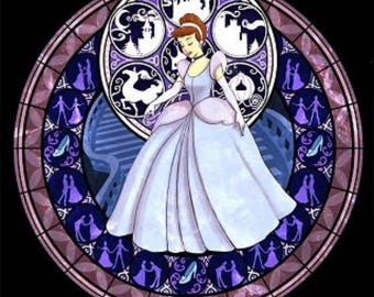 Cinderella cross stitch digital Pattern medallion stained glass kingdom hearts