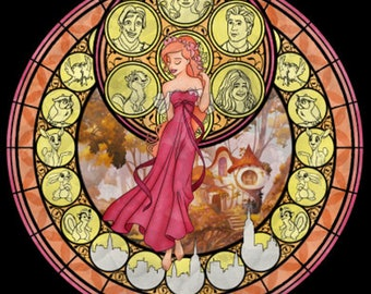 Enchanted Giselle cross stitch digital Pattern medallion stained glass kingdom hearts