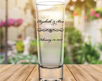 Custom Classic Script Personalized Tall Wedding Favor Shot Glasses
