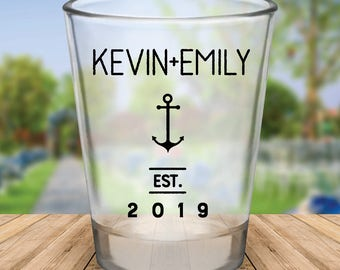 Custom Personalized Nautical Anchor Wedding Favor Shot Glasses