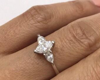 Marquis shape diamond ring, .65ctw, 18k white gold engagement ring, anniversary ring.