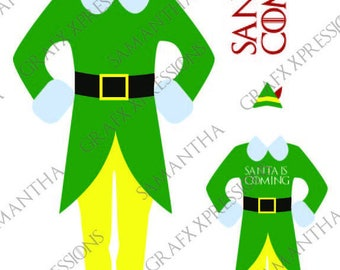 Buddy Elf Santa is Coming GOT  Cameo Cricut cut file  DXF and PNG