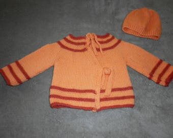 Jacket and hat with fancy stripes