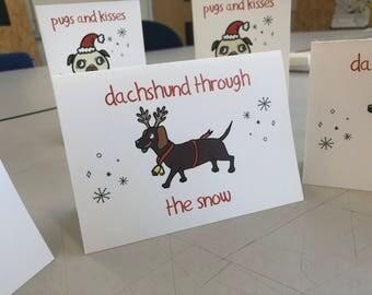 Dachshund Through The Snow - Christmas Card