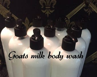 Goats milk body wash 16 oz Made with essential oil of your choice or (unscented).
