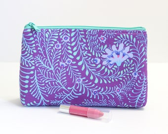 Stand up zipper pouch, large makeup bag, purple fabric, large zipper pouch, large pencil case, diaper bag pouch, handmade purse for her