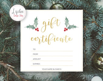 Printable Christmas Watercolor Holly Leaf Gold Foil Gift Certificate Template | Editable Gift Card Photoshop template PSD INSTANT DOWNLOAD