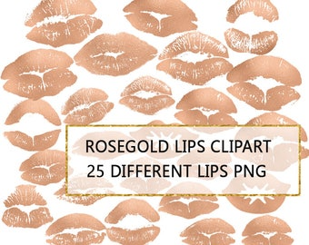 Lips Clip art, Lips Clipart, Lipsense, Kisses, Kissing Lips PNG, Rose Gold Lips, 25 Lips Graphics, Commercial Use, Transparent Background