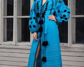 SALE IN STOCK Ethnic dress Vyshyvanka Ukrainian embroidery Wedding dress boho style  Long sleeve