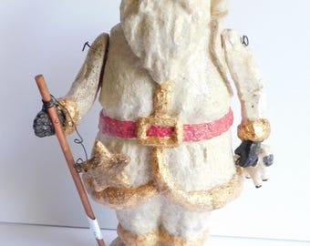 "Folk Art Primitive Santa Claus Glittered Hand Crafted Christmas Figurine 9.5"""