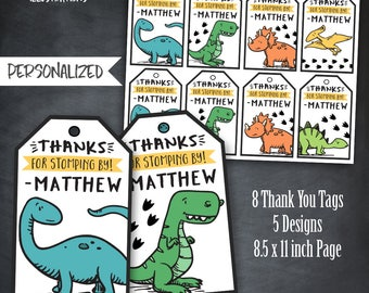 Dinosaur Thank You Tags, Dinosaur Favors, Cute Dinosaur Tags, Dinosaur Birthday, Dinosaur Party, T-Rex tags,Personalized, Printable, Digital