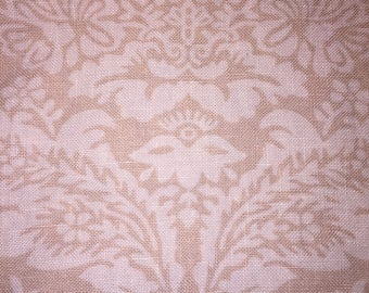 Beautiful Ecru & Beige Damask Floral French Linen Yardage Deco Upholstery