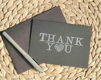 Thank You Card, Silver Embossing, Black Card, Wedding Thank You card, special occasion, minimalist card
