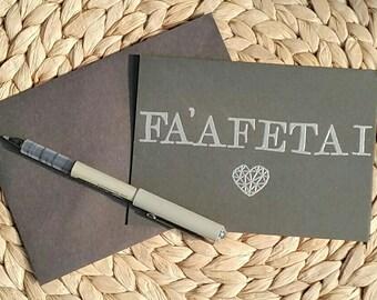 Fa'afetai Thank You Card, Samoan, Samoa, Pacifica, Embossing, Black Card, Wedding Thank You Card, Minimalist Card