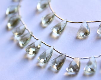 Faceted Pendant and Triangle Green Amethyst Beads - STONE 011