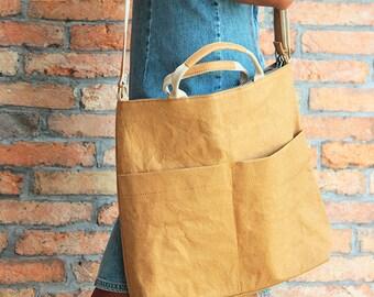 laptop Bag - Tote bag, like leather shoulder bag, everyday classic tote, shoulder bag,washable paper bag, gym bag, eco friendly vegan bag
