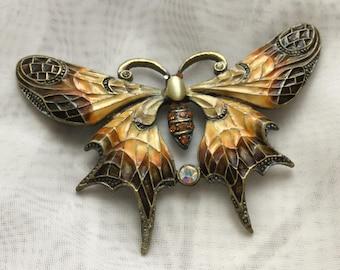 Vintage Enamelled Butterfly Pin Brooch