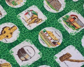Vintage Irish Tea Towel // 70s Kitsch Irish Linen Novelty Kitchen Decor