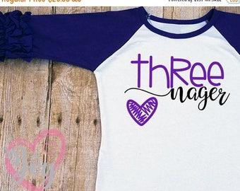 "VALENTINE SALE Third Birthday ""Threenager"" Ruffle Sleeve Raglan Shirt, 3/4 Sleeve, Multiple Colors, Add Name at No Charge, 3rd Birthday, Thr"