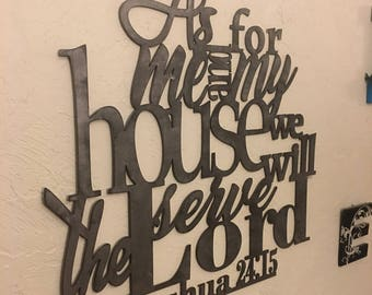 Metal scripture wall art, Joshua 24:15